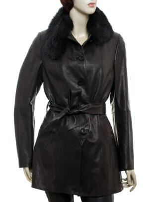 Płaszcz skórzany damski - Levante