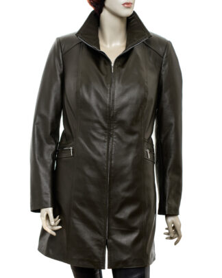 Płaszcz skórzany damski - Rouge