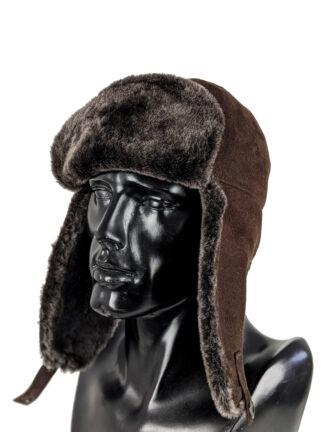 Brązowa czapka zimowa ze skóry naturalnej