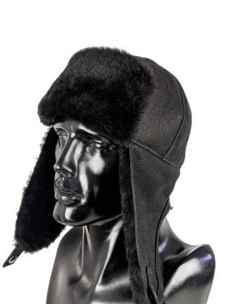 czapka zimowa czarna - skórzana