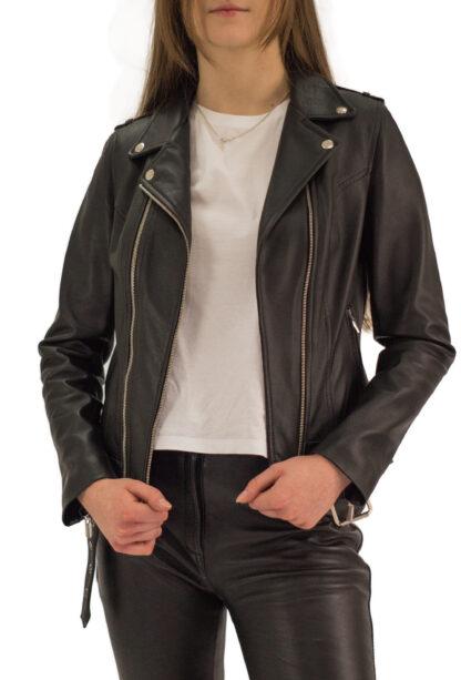 Czarna kurtka skórzana damska - Ramoneska - Piston