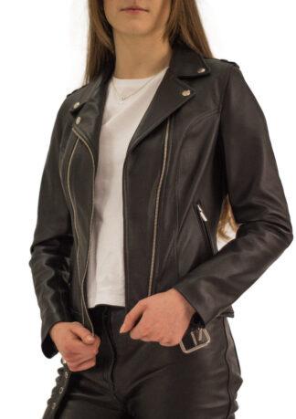 Ramoneska skórzana czarna Piston - front